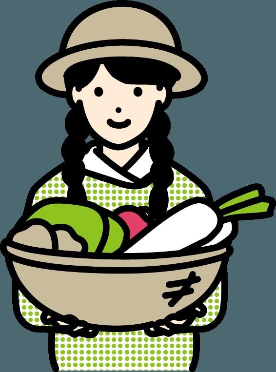 野菜を持った農家の女性