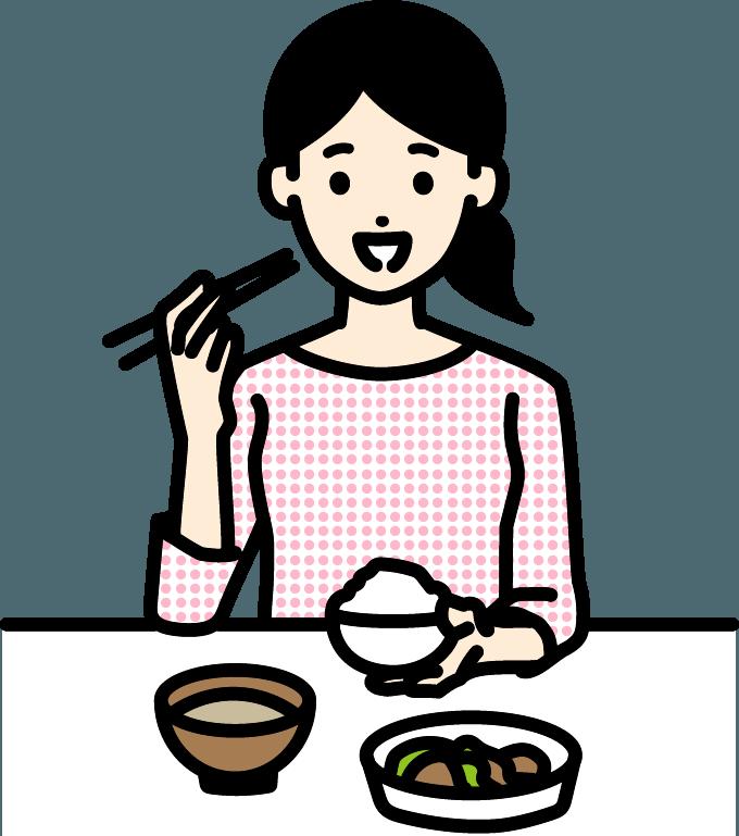 ごはんを食べる女性のイラスト