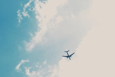 青空の中の飛行機