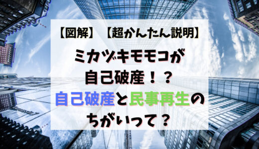 【図解】ミカヅキモモコが自己破産!?自己破産と民事再生のちがいって?【超かんたん説明】